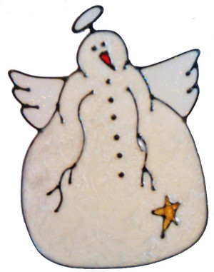 Country Snowman Angel Window Cling