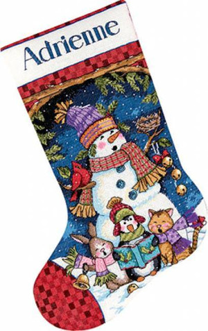Cute Carolers Counted Cross Stitch Stocking Kit