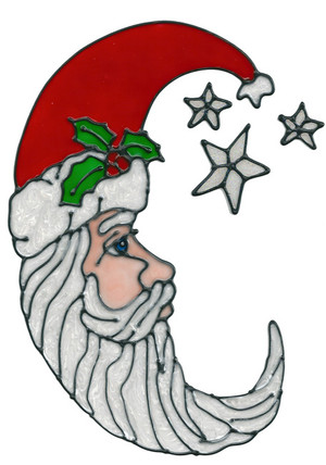 Cresent Santa Window Cling