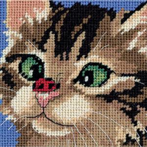 Cross-Eyed Kitty Needlepoint Kit