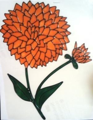 Dahlia Window Cling - Peach