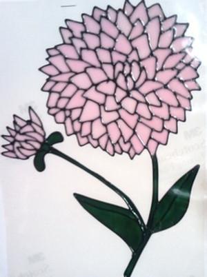 Dahlia Window Cling - Pink