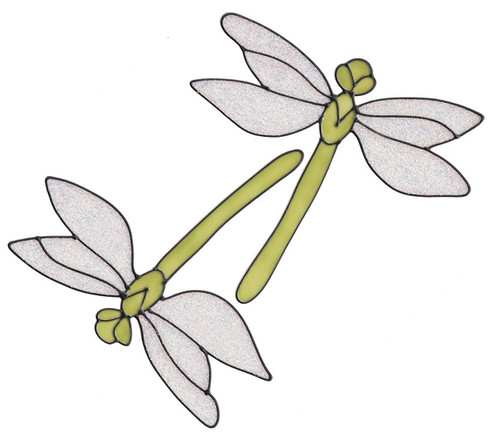 Dragonfly Window Clings - Lime Sparkle