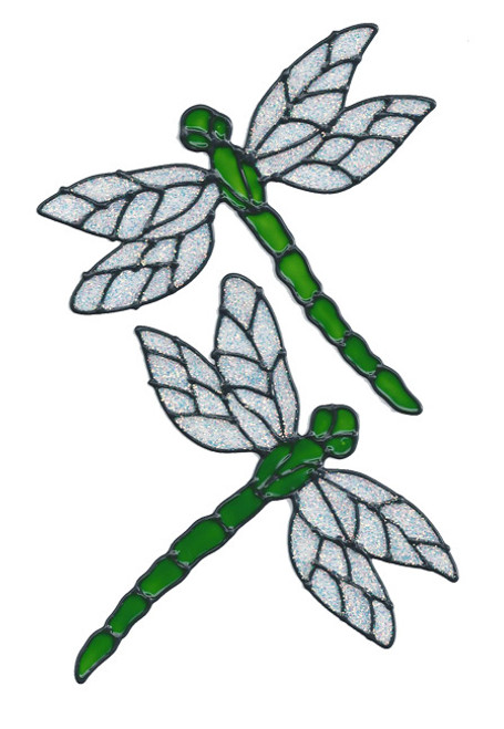 Dragonfly Window Clings - Lime Glitter
