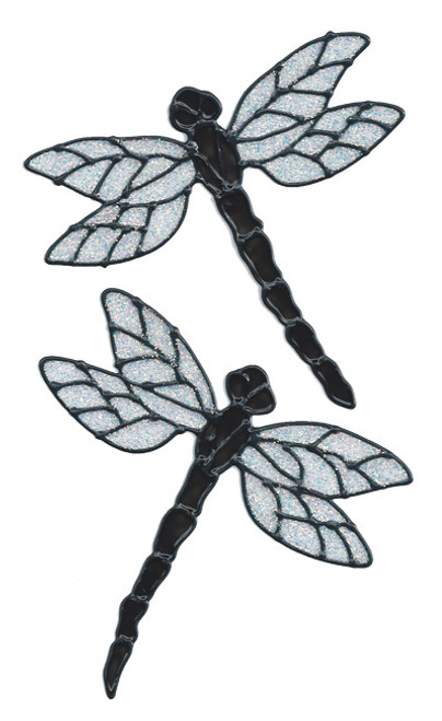 Dragonfly Window Clings - Black Glitter