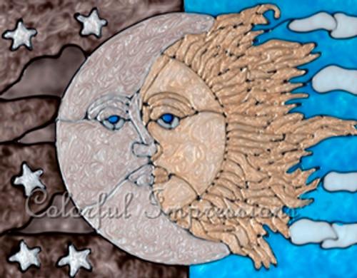 Faux Stained Glass Celestial Sun & Moon Suncatcher