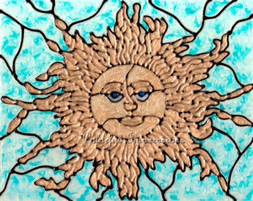 Faux Stained Glass Golden Sun Suncatcher