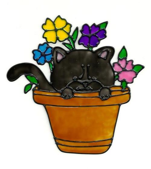 Flower Pot Kitty Window Cling