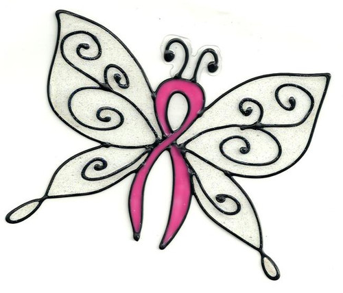 Awareness Butterfly Window Cling - Pink Ribbon