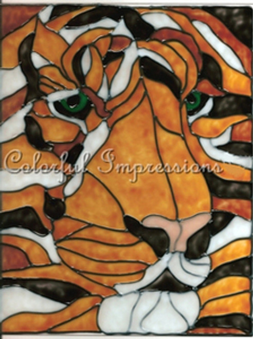 Faux Stained Glass Tiger Face Suncatcher