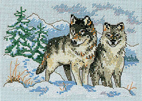 A Pair Of Wolves Counted Cross Stitch Kit