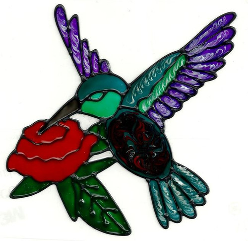 Hummingbird Rose Window Cling
