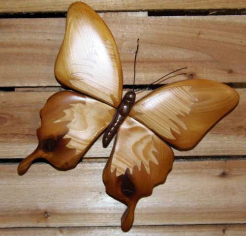 Intarsia Butterfly Cedar Wall Plaque