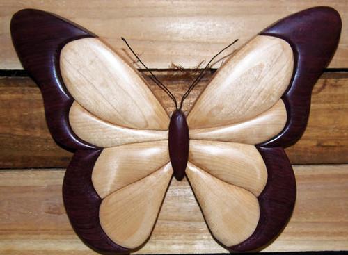 Intarsia Butterfly Purple Heart Wall Plaque