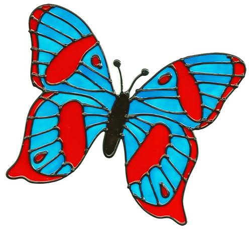 Blue & Red Butterfly Window Cling