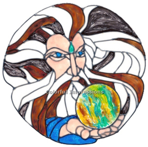 Wizard Faux Stained Glass Round Window Cling