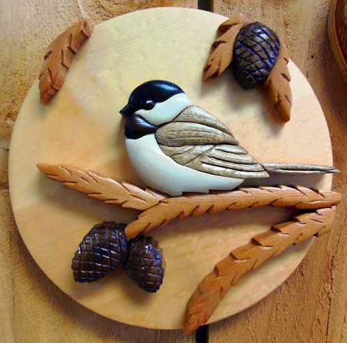 Intarsia Chickadee Wall Plaque