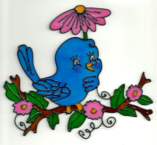 Bluebird Floral Window Cling