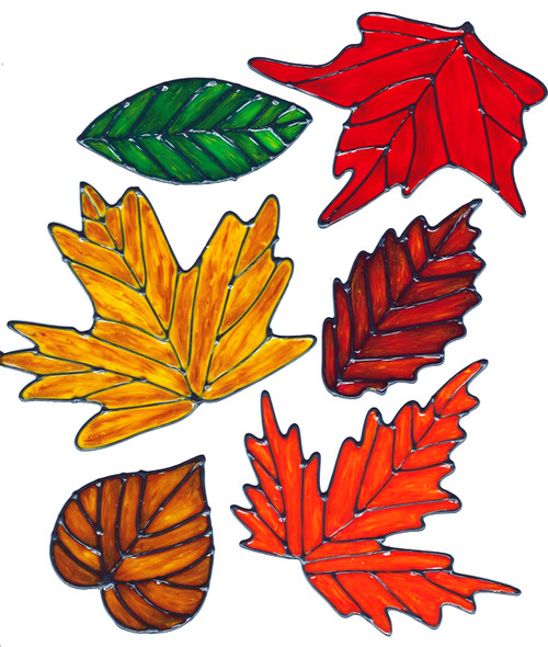 Autumn / Fall Faux Stained Glass Leaves Window Cling Set