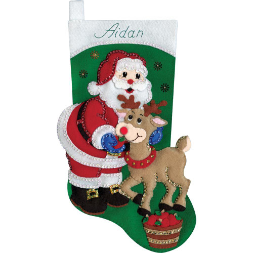 Santa & Deer Stocking Felt Applique Kit