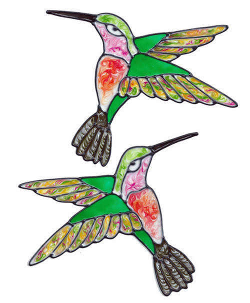 Hummingbird Window Cling Set - Colorful