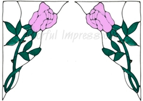 Rose Corner Window Cling Set - Pink