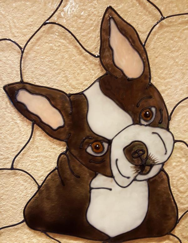 Faux Stained Glass Boston Terrier Suncatcher