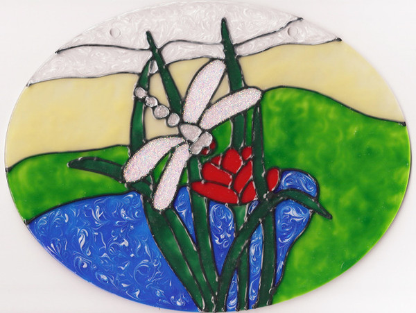 Faux Stained Glass Dragonfly Scene Suncatcher