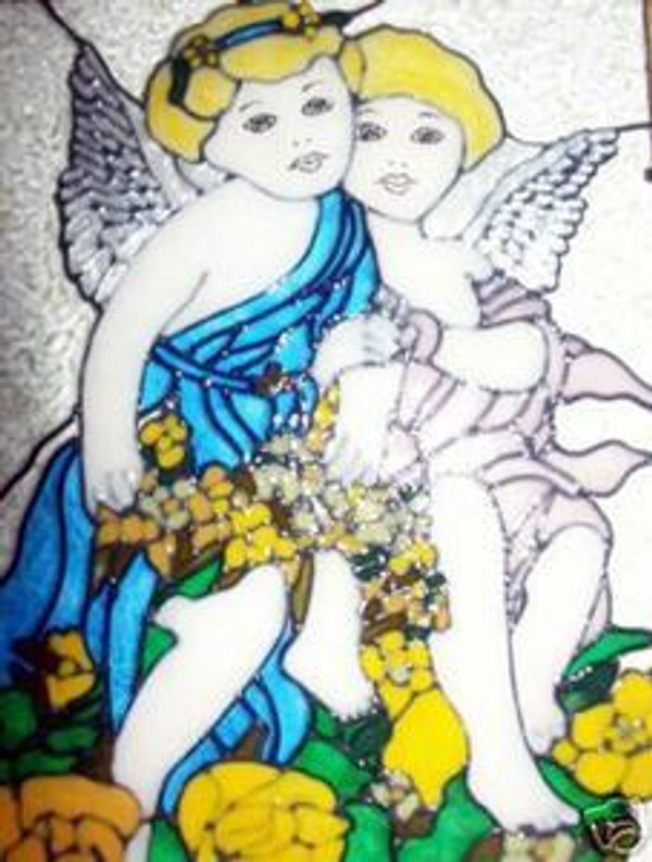 Faux Stained Glass Angel Pair Suncatcher