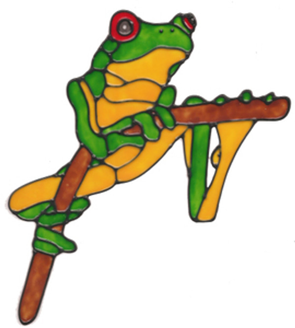 Frog On Branch Window Cling