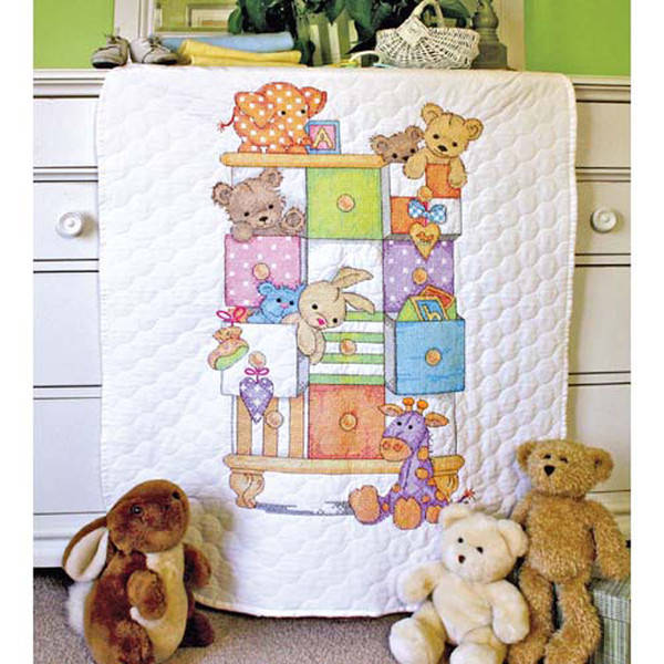 Baby Drawers Quilt Stamped Cross Stitch Kit