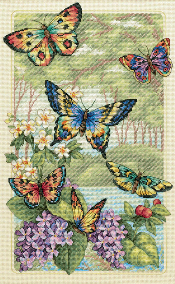 Gold Collection Butterfly Forest Counted Cross Stitch Kit