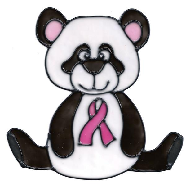 Awareness Panda Bear Window Cling - Pink Ribbon