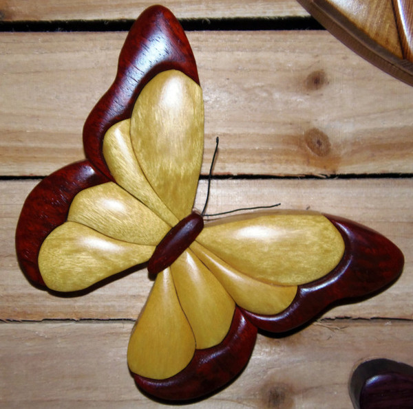 Intarsia Butterfly Yellow Heart Wall Plaque