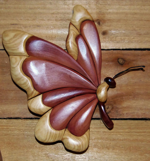 Intarsia Butterfly Wall Plaque