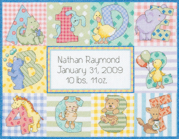 Baby Hugs Zoo Alphabet Birth Record Counted Cross Stitch Kit