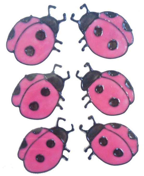 "Ladybug ""Pink"" Window Cling Set"