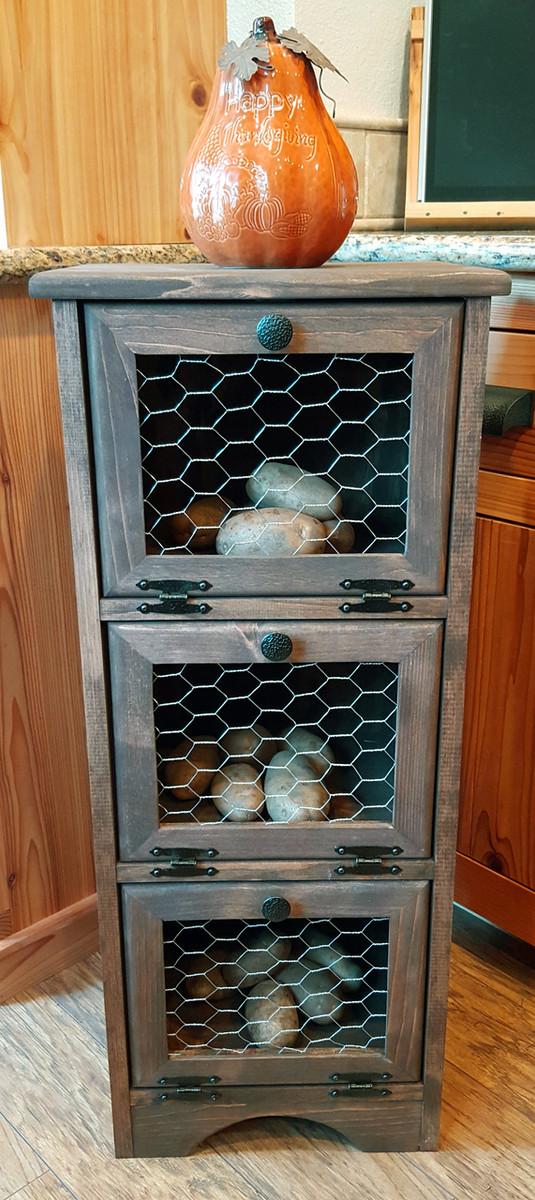 Potato Vegetable Storage Bin - Chicken Wire - Flat Top