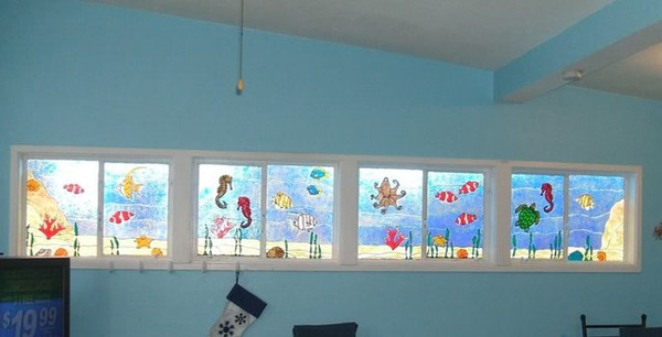 Underwater Ocean Scene Faux Stained Glass Window Film