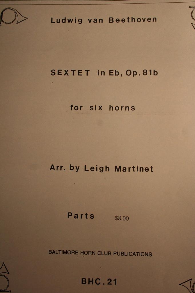 Beethoven, Ludwig - Sextet, Op. 81b 1