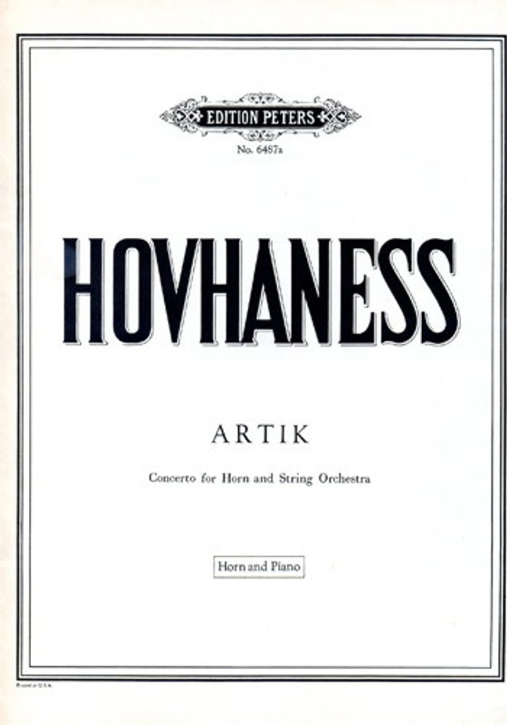 Artik for Horn & Orchestra (Piano Reduction) - Hovhaness