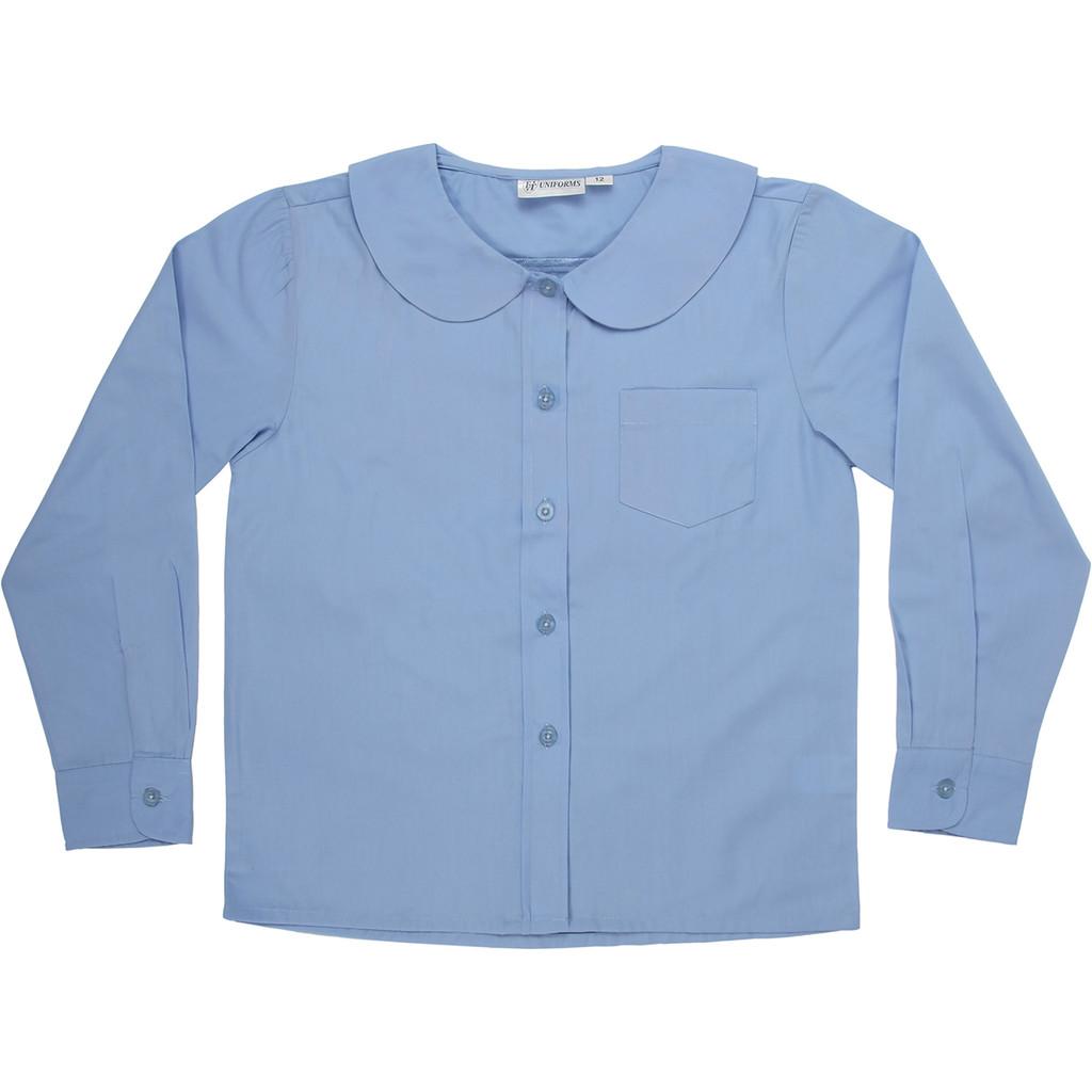 Girls Peter Pan Blouse Long Sleeve Color Blue (ADV)