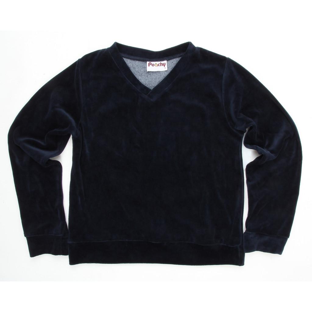 Girls School Uniform Velour V-Neck Pullover Long Sleeves