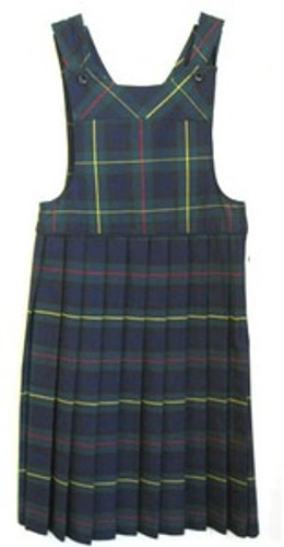 Bib Top Pleated Jumper with Piping | Plaid G | Color #83 Made in USA