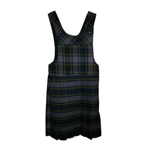Bib Top Pleated Jumper with Piping   Plaid I   Color #48
