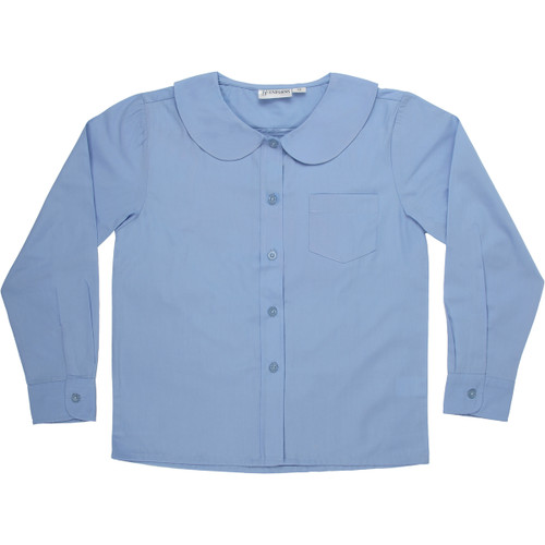 Girls Peter Pan Blouse Long Sleeve Color Blue (ADV)