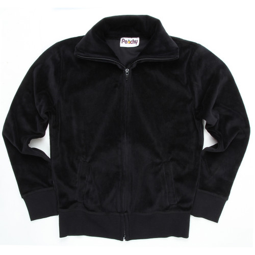 Peachy Girls Kids Velour Zip-Up With Collar Black With Pockets