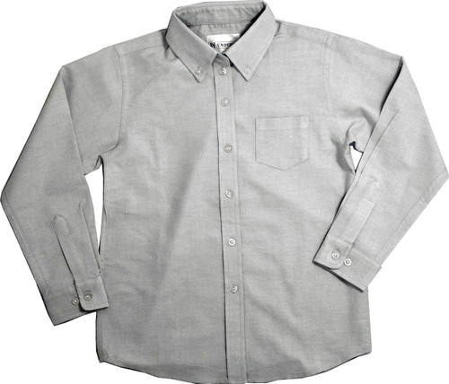 Kids Girls Grey Oxford School Blouse Long Sleeve