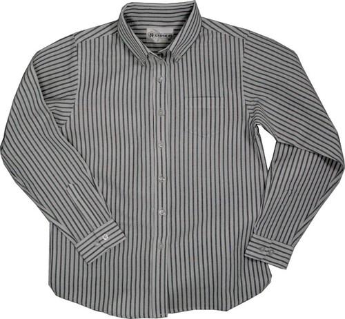 Junior Girls Oxford Striped Multi Stripe Blouse White/Blue and Green (YOGW)