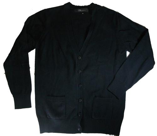 Girls School Uniform V-Neck Cardigan Sweater - 100% Cotton